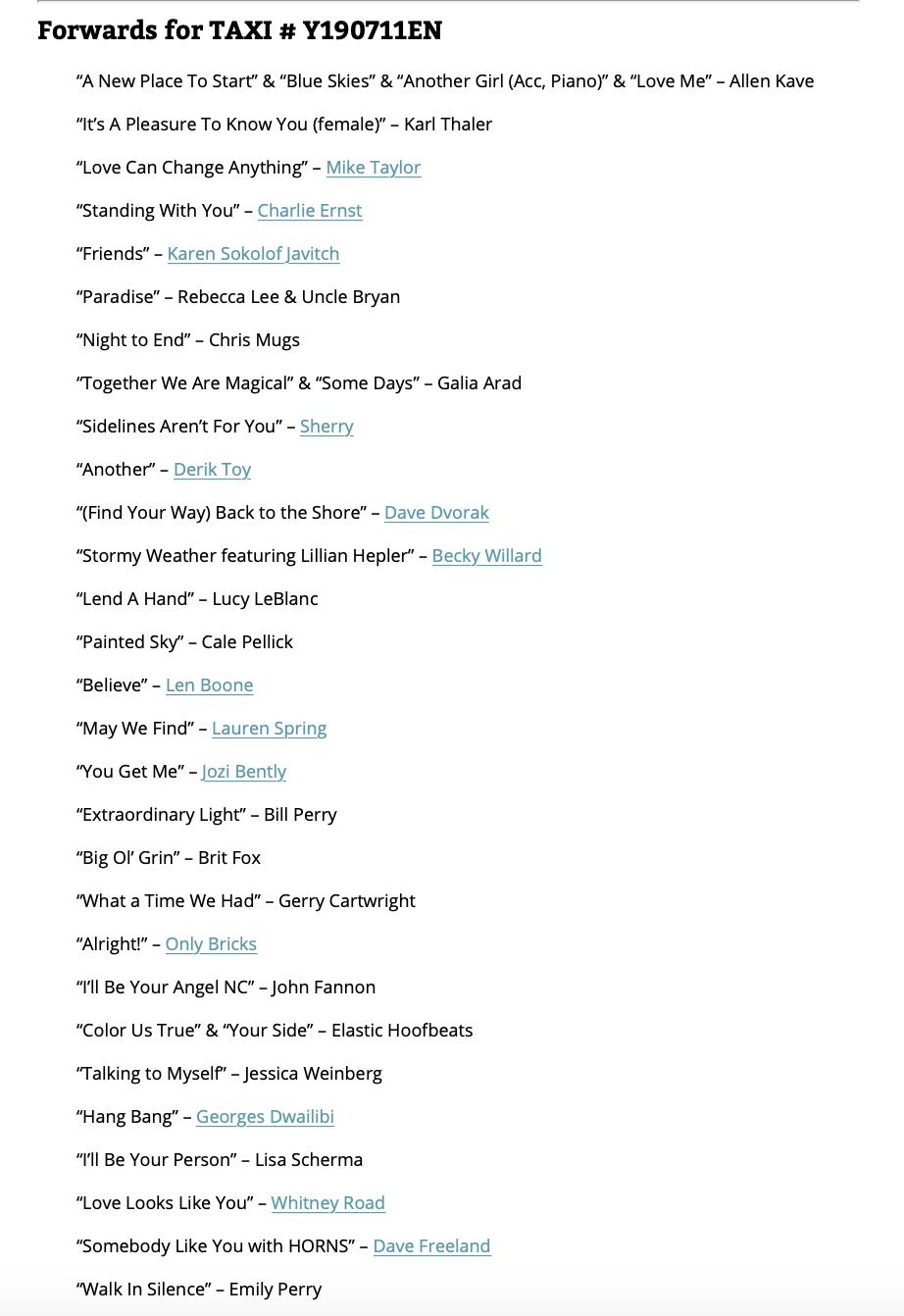 many songs forwarded